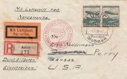 Deutsches Reich Luftpost Nord Amerika Brief 1936 - Storia Postale