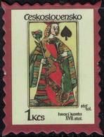 Tchécoslovaquie Timbre Fictif Autocollant Jeu De Cartes Queen Of Spades Reine De Pique Scrapbooking - Scrapbooking