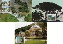 Brazil 1982 / 2015 3 Maximum Card Waterfall Sete Quedas National Park Aparados Da SerraWater Circuit Minas Gerais - Cartoline Maximum