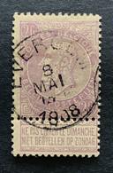 Leopold II Fijne Baard OBP 67 - 2fr Gestempeld  EC EVERGEM - 1893-1900 Thin Beard