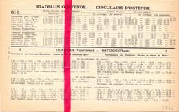 Dienstregeling Stadslijn Oostende , Autobus , Oostende - Koksijde - Veurne 1946 - Europe