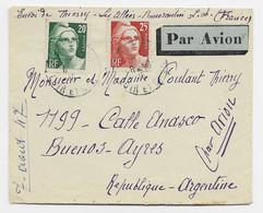 GANDON 20FR N°728 +25FR N°729 LETTRE AVION ROMORANTIN LOIR ET CHER  1947 POUR ARGENTINE AU TARIF - 1945-54 Marianne (Gandon)