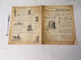 M11/ Feuille Double - Ets Vermorel Matériel Agricole Et Viticole-papier Fripé, Pliures, Sale - Pubblicitari
