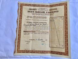 Sté  MAROCAINE  D' ASSURANCES  ------ Certificat  D' Actions  Nominatives  De  100 Frs - Bank & Insurance