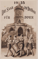 Ak Propaganda Die Saar Ist Deutsch Für Immer, 1935, Kinder, Flagge, Hakenkreuz, Postkarte, Deutsches Reich - Guerra 1939-45