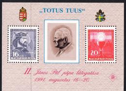 HUNGARY, MAGYAR KIR POSTA - TOTUS TUUS - BLOCK  STAMPS - POPE JOHN PAUL II  MINT NOT HINGED SOUVENIR 1 - Pausen