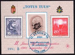 HUNGARY, MAGYAR KIR POSTA - NUMBERED BLUE OVERPRINT - BLOCK STAMPS - POPE JOHN PAUL II  MINT NOT HINGED SOUVENIR 1 - Pausen