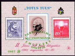 HUNGARY, MAGYAR KIR POSTA - NUMBERED GREEN OVERPRINT - BLOCK STAMPS - POPE JOHN PAUL II  MINT NOT HINGED SOUVENIR 1 - Pausen