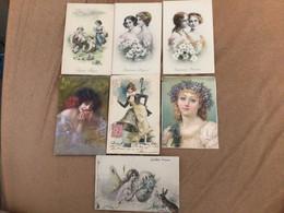 Lot 7 Cartes Femme Illustrée, Gary - Altre Illustrazioni