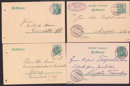 Steinigstwolmsdorf, Limbach, Münster, Leipzig-Volksmarsdorf, 4 GA 5 Pf. Gerrmania Zw. 1901 Bis 1909 - Marcofilia - EMA ( Maquina De Huellas A Franquear)