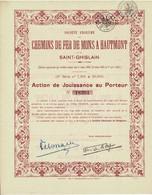 Titre Ancien - Société Anonyme Des Chemins De Fer De Mons à Haumont Et De Saint-Ghislain -Titre De 1868 - N° 18391 - Spoorwegen En Trams