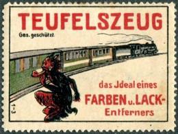 Germany TEUFELSZEUG Vignette Railway TRAIN Devil Poster Eisenbahn Zug Reklamemarke Deutschland Chemin De Fer Allemagne - Trains