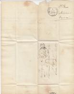 LAC. 2 JUIN 1834. T12 LA CHARITE. CURSIVE 56/ Sancergues. NIEVRE. DECIME NOIR. TAXE 4 ROUGE POUR GUEUGNON - 1801-1848: Vorläufer XIX
