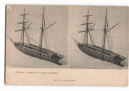Très Rare ELD PINNACE Bateau De Voyage Du GANGE Stéréo Le Merveilleux Stréréoscopique  E LE DELEY PARIS  N382 - Other