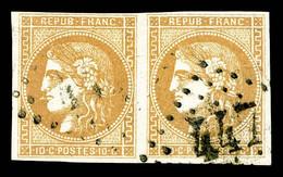 N° 43Ba Oblitéré 10c Bistre-jaune Rep 2 En Paire, TB - 1870 Emission De Bordeaux