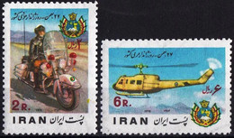 Iran 1976 Stamps Police Day Helicopter Harley Davidson Motor Cycle MNH - Iran