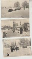 L'hiver Dans Le HAUT-JURA ,  Saint Laurent Du Jura.....  3 Cartes Animées Passage De La Charrue - Zonder Classificatie