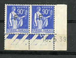 FRANCE -  FM  TYPE PAIX - N° Yvert 10 (*) PAIRE DATÉE DU 10/5/39 - Franchise Stamps