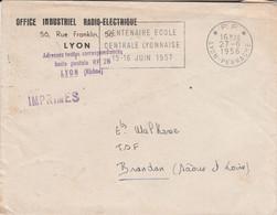 LETTRE EN PORT PAYE DE LYON PERRACHE 1956 - 1961-....
