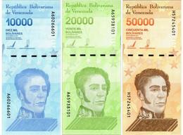 VENEZUELA SET 10000 20000 50000 BOLIVARES 2019 P NEW - UNC - Venezuela