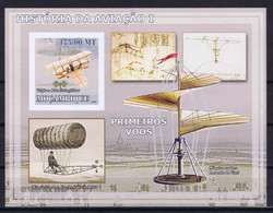 Mozambique Space 2009 History Of Aviation, Old Aircrafts  Imperf Sheet - Mozambique