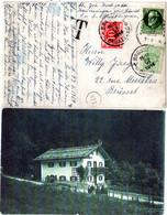 Bayern 1914, 5 Pf. Auf AK V. Berchtesgaden M. Belgien 5+10 C. Portomarken - Bavaria