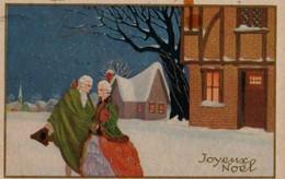 Illustrée Dorée Genre Corbella, Meschini . Couple XVIII° Dans La Neige - Couples