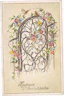 Fêtes - Voeux : Anniversaire : Carte à Paillettes : Heureux Anniversaire : Oiseaux - Fleurs : édit. - Photochrom N° 372 - Cumpleaños