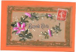 Cpa Celluloïd Peinte Main, Bonne Fête, Fleurs Encadrées - Unclassified