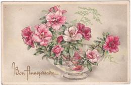 Fêtes - Voeux : Anniversaire : Carte à Paillettes : Bon Anniversaire : Fleurs - Oeillets : édit. - Ilo N° 2008/2 - Cumpleaños