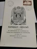 Luxembourg MENU, Banquet Officiel. 85e Anniversaire De La Fondation L'union Des Timbrophiles De Luxembourg 1975 - Privées