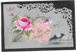 Cpa Celluloïd Peinte Main Dentelée, 1er Avril, Poisson, Roses - Unclassified