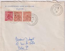 ALGERIE-OB TEMPORAIRE-3 Enveloppes CAD 6ème Conférence NORD-AFRICAINE-ALGER3/7/1930 - Gebruikt