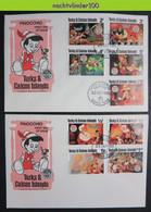 Muw4422b WALT DISNEY PINOKKIO KAT VOGELS VOS FOX BIRDS CAT KATZE PINOCCHIO TURKS & CAICOS 1980 FDC's - Disney