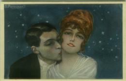 BOMPARD SIGNED 1910s POSTCARD - COUPLE UNDER THE STARS - N. 465-5 (BG1395) - Bompard, S.