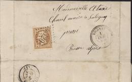 Basses Alpes Empire Dentelé YT 21 Bistre Jaune GC 4320 CAD Volonne 1 OCT 1864 Perlé T22 Arrivée Sisteron 2 Oct 64 - 1849-1876: Periodo Clásico