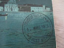 Sur CPA Venise Beau Cachet Bleu Croiseur Cuirassé Jules Michelet 12 Mars 1916 - Maritime Post