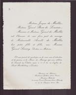"""Faire-part """" Mme De Miollis, Mme Beau De Loménie """" Mariage Du 29 Octobre 1977 Eglise De Saint-Barthélémy - Wedding"""
