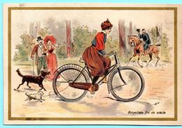 RARE Chromo Sans Publicité.Thème: Vélo, Bicyclette. Bicycliste Fin Du Siècle. Imp. Champenois. TM 36-1/1 - Ohne Zuordnung