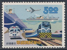 Taiwan Republic Of China 1967 Mi 623 YT 565 Sc 1512 SG 601 ** Boeing 727-100, Frachtschiff, Omnibus, Dieselzug - Neufs