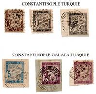 6 Chiffres-taxe Type Duval Noirs Ou Couleurs Oblitérés Aux Bureaux Français De Constantinople Ou Constantinople-Galata - 1877-1920: Semi Modern Period