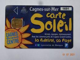 CARTE A PUCE CHIP CARD CARTE FIDÉLITÉ CARTE SOLEIL CAGNES-SUR-MER 06 ALPES-MARITIMES - Cartes De Fidélité Et Cadeau