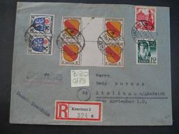 Deutschland Alliierte Besetzung Franz. Zone 1948- Reko Brief Baden Gelaufen Konstanz - Stollhamm MiNr. ... - Franse Zone