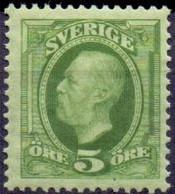 Zweden 1891-1903 5öre Oscar II Geelgroen PF-MNH - Neufs