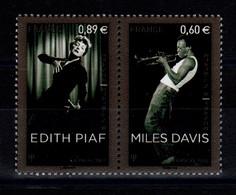 YV P4671 : YV 4671 & 4672 N** En Paire Se Tenant - Prix = Faciale , Miles Davis & Edith Piaf - Nuevos
