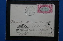 V20 REUNION  FRANCE BELLE  LETTRE   1907 PETIT BUREAU HELL BOURG POUR PARIS   FRANCE+  AFFRANCHISSEMENT PLAISANT - Brieven En Documenten