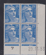 France N° 886 XX Marianne De Gandon :15 F. Outremer En Bloc De 4 Coin Daté Du 20 . 11 . 53 ; 3 Points Blancs  Ss Cha. TB - 1950-1959