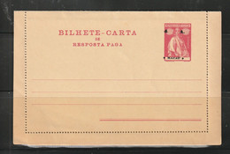 Macau Macao 1914 Ceres 4a Double Letter Card W/misplaces. Unused. - Covers & Documents