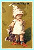 RARE Chromo Chocolat Guérin-Boutron Imp. APPEL . Le Bonnet De Papa Pour Les Oreilles De Fillette. Fond Doré. AP 1-1-10/8 - Guerin Boutron