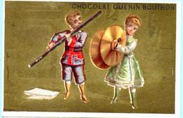 RARE Chromo Chocolat Guérin-Boutron Imp. APPEL . Instruments De Musique. Fond Doré. AP 3-1-43-1/2 - Guerin Boutron
